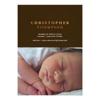 Solid sophistication brown yellow photo baby birth card