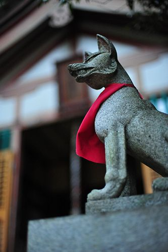 Inari shrine - kistune (fox) statues are the symbol of the Japanese kami of foxes, of fertility, rice, tea and Sake, of agriculture and industry, of general prosperity and worldly success, and one of the principal kami of Shinto in Japan.