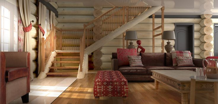 Rustic, Traditional Chalet Decor - Living Room