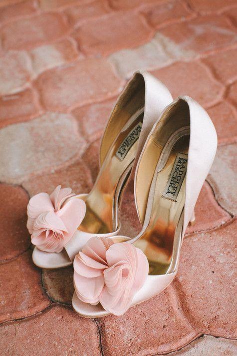 Ballet Pink Badgley Mischka Bridal Shoes | Joshua Kane Photography | TheKnot.com