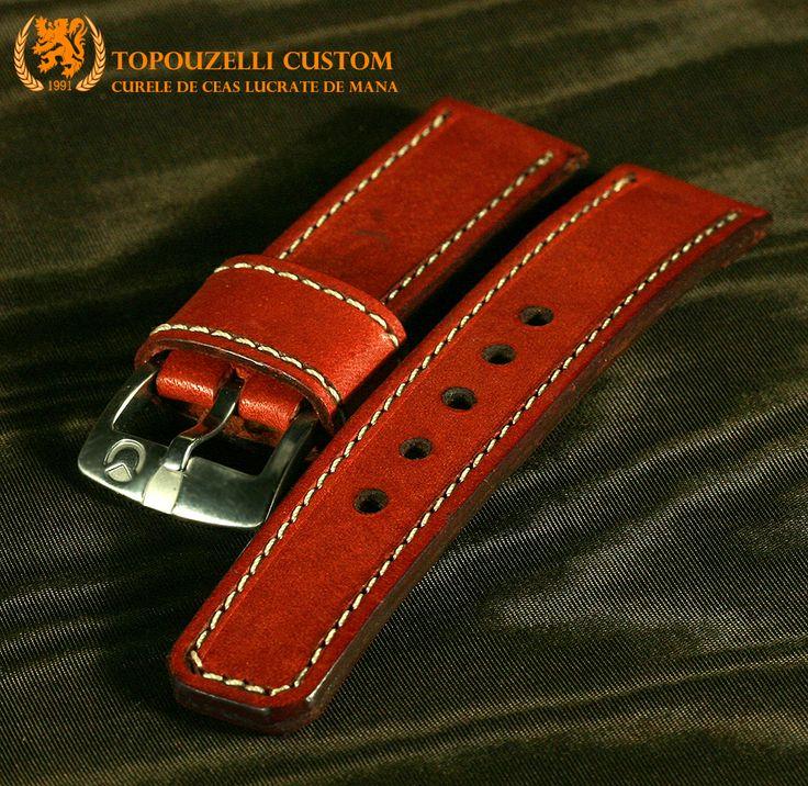 """Topouzelli custom 279 - Curele de ceas din piele lucrate de mana la comanda. topouzelli@gmail.com 0727167802 0771296409 http://topouzelli.blogspot.ro Curea de ceas 120/75/24 mm. Model """"Chrono time 3"""".  cert. autenticitate.  Unicat. Piele vitel. 100 lei"""