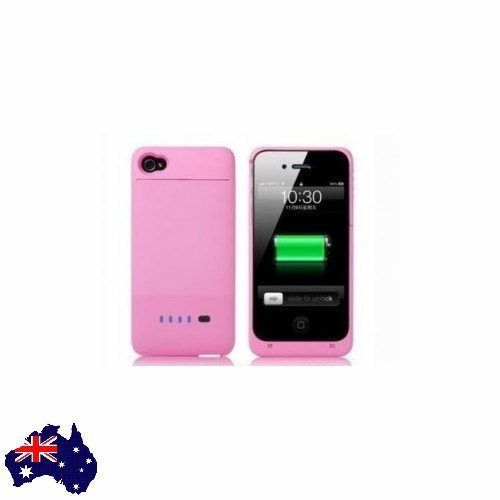 Pink External 1900mAh Backup Battery Charger Case Cover 4 iPhone 4 4S 4GS Biph-1