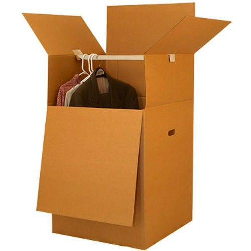 Box Bundles: Moving with Wardrobe Boxes – Uboxes.com  Our wardrobe boxes offer twice the strength of our other corrugated boxes.  Use two wardrobe boxes to pack any standard closet.  Transfer all hanging clothes from the closet to hanging bar inside the boxes.  When arrive at destination simply move the clothes that are hanging in the boxes to the new closet.  This will help you avoid the unnecessary ironing or the dry cleaners.
