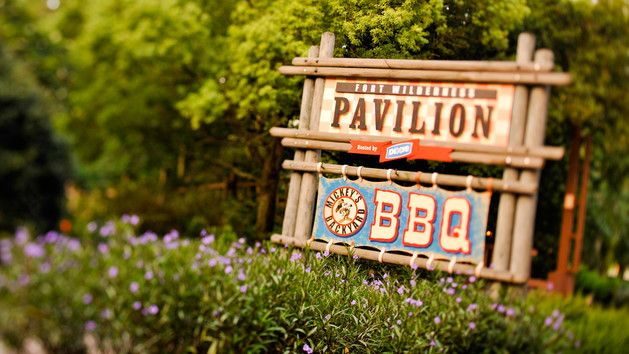 Outdoor sign for Fort Wilderness Pavilion and Mickey's Backyard BBQ