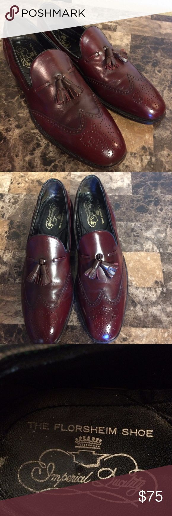 Vtg Florsheim Imperial Stuart Tassel Wingtip Shoes Vtg Florsheim Imperial Stuart Tassel Wingtip Loafers Bordeaux Leather sz 11.5 A   Great pre-owned condition!  Please see all photos!!  Vintage 80's Tassel Wingtips.  Model 93223 - Hard to Find Florsheim Shoes Loafers & Slip-Ons