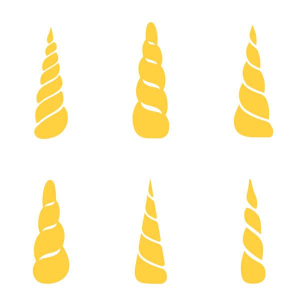 Collection Of Unicorn Horns Isolated On White Background Vector