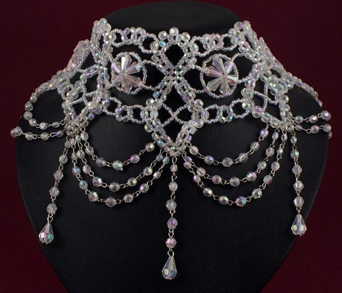 Crystal Clear AB Beaded High Neck Victorian Style Choker