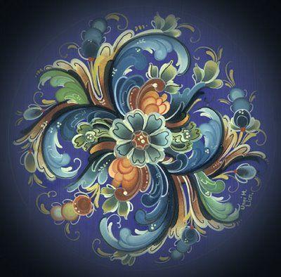 Norwegian: Folk Art, Digg Paintings, Blue Green, Norwegian Rosemaling, Decor Paintings, Tattoo Design, Folkart, Rosemaling Pattern, Birthday Parties Invitations
