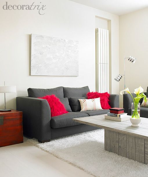 Sofa gris y rojo buscar con google decoracion for Sofas grises decoracion