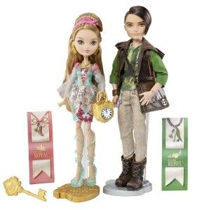 Ever After High Dolls: Ella & Hunter Huntsman Doll, 2-Pack Ashlynn Ella, is the daughter of Cinderella. Hunter Huntsman is the son of the Huntsman. Both dolls have easy to remove clothing. Velcro at back, and cords on dude's hoodie can be tied. However their shoes are not easy to remove. http://awsomegadgetsandtoysforgirlsandboys.com/ever-after-high-dolls/ Ever After High Dolls: Ella & Hunter Huntsman Doll, 2-Pack