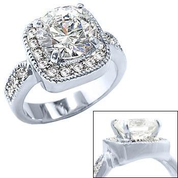 Ladies Diamond Engagement Ring in Rhodium Silver - Only $36