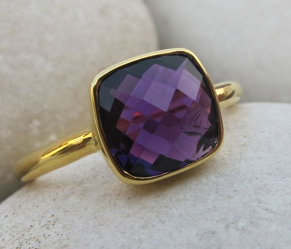 Amethyst Rings- Purple Amethyst Rings- Rose Gold Silver Rings- Amethyst Silver Rings- February Birthstone Rings- Purple Stone Rings- Ring on Etsy, $62.99
