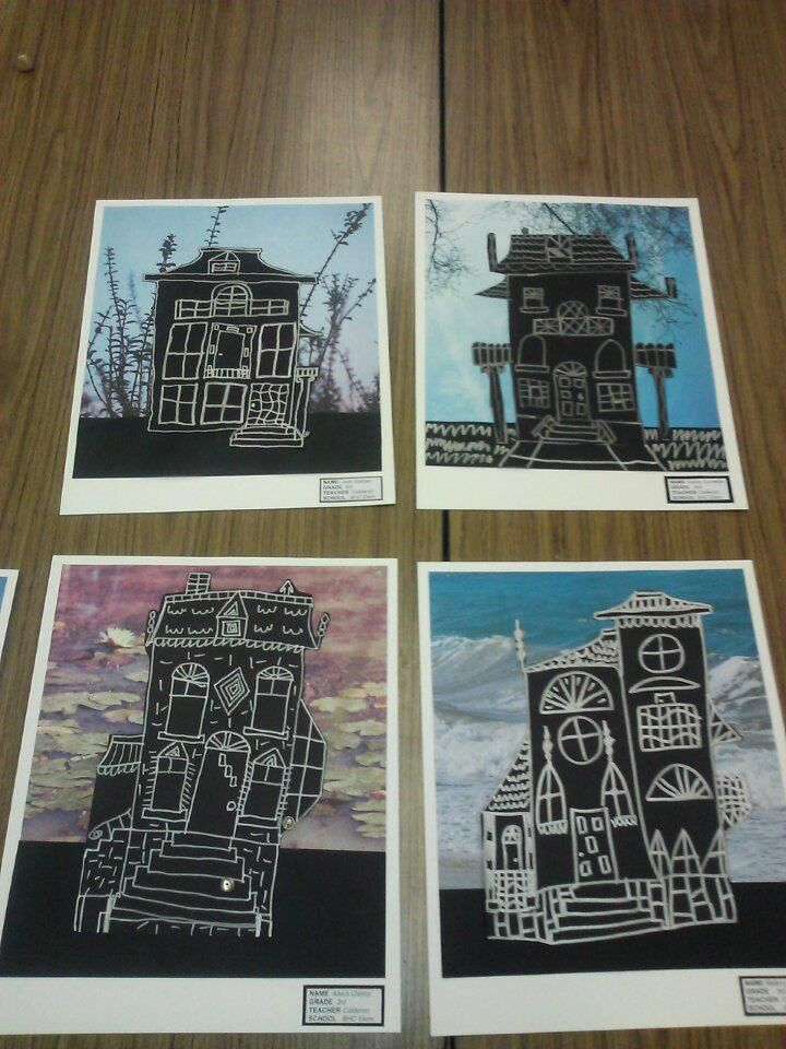 Spooky Victorian Architecture done around Halloween. We learned about Edward Hopper's House by the Railroad painting and used it as our inspiration. Drawing with silver sharpie on black paper. We then cut it out carefully, and glued to an eerie (photo) scrapbook paper background of their choice. Can use with Gelli Arts to make background too!