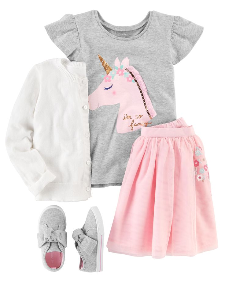 Perfect for school or play, this outfit features a flutter-sleeve unicorn tee and an embroidered tutu skirt. Add a sweet bow cardigan and Mary Jane sneakers to complete this cute look.