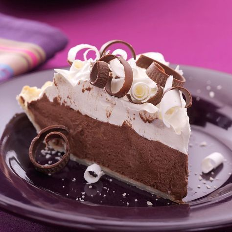 """Chocolate Silk Pie Recipe -This creamy, quick chocolate pie not only melts in your mouth, it also melts any and all resistance to dessert! What an easy way to say """"I love you"""" on Valentine's Day. —Mary E. Relyea, Canastota, New York"""
