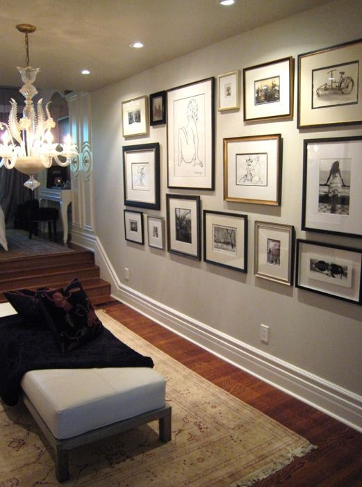 Beautiful Foyer Design With Eclectic Photo Wall Gallery, Chandelier,  Fainting Sofa, Throw And Soft Gray Walls Paint Color.