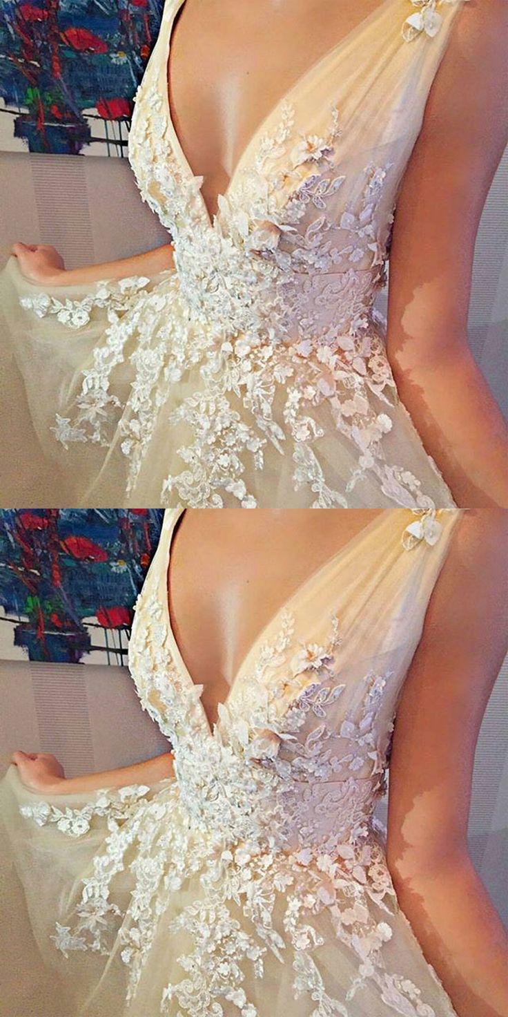 A-Line Dresses,V-Neck Dresses,Sleeveless Dresses,Short Dresses,Tulle Dresses,Homecoming Dresses 2017,Beading Dresses,Appliques Dresses,Wedding Dresses 2017
