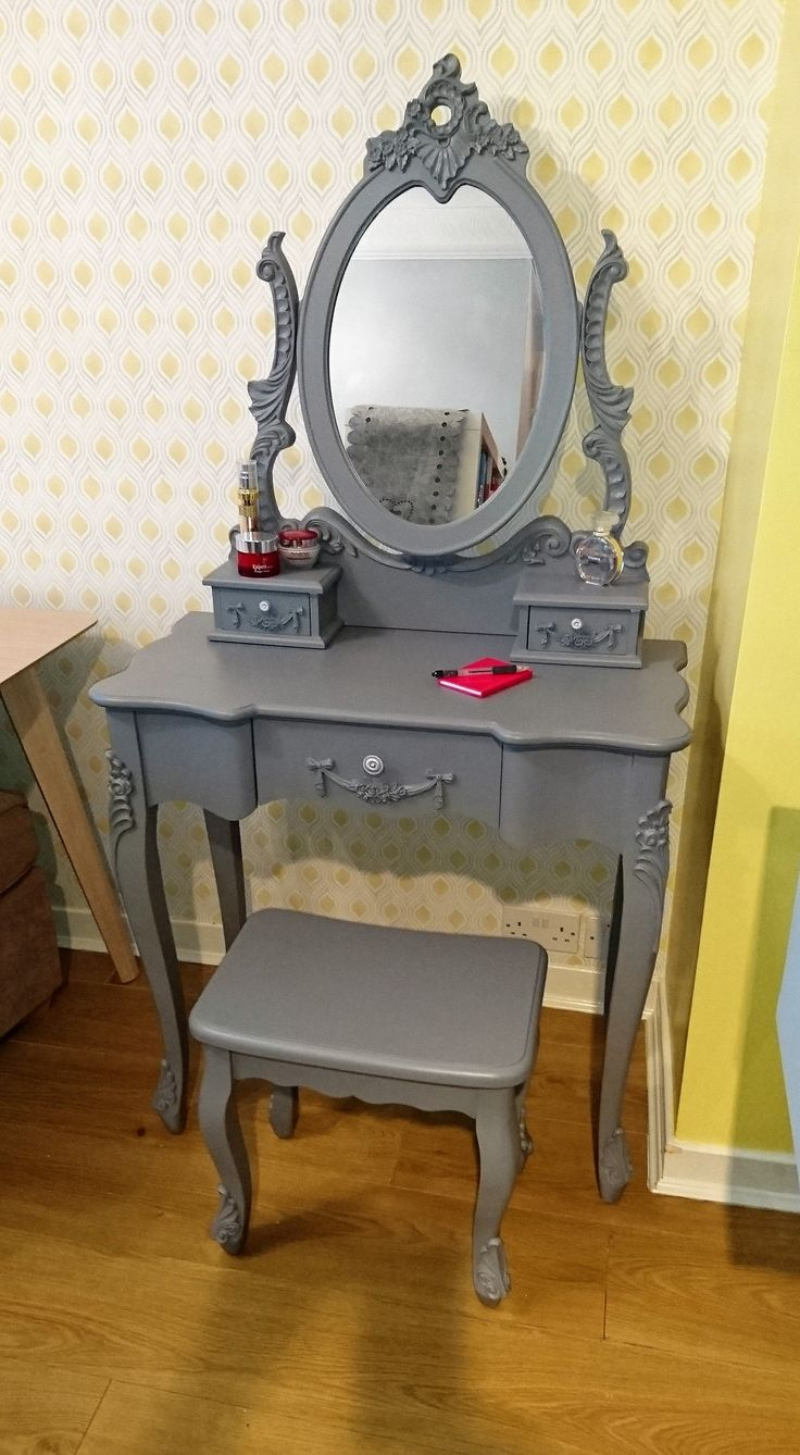Good Upcycled French Style Dressing Table In Slate Grey, With Mirror And Stool.  Varnished For Everyday Use. Great In Bedroom Or Dressing Room.