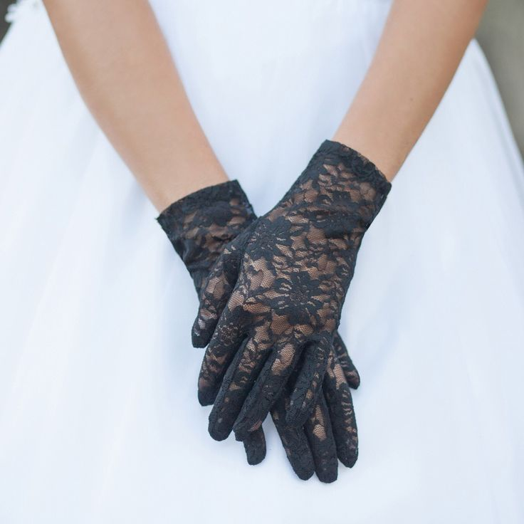 Graceful in Lace Lady Mary Gloves in Black | Flapper & Great Gatsby Style Accessories | Art Deco & 1920s Inspired | Something Special