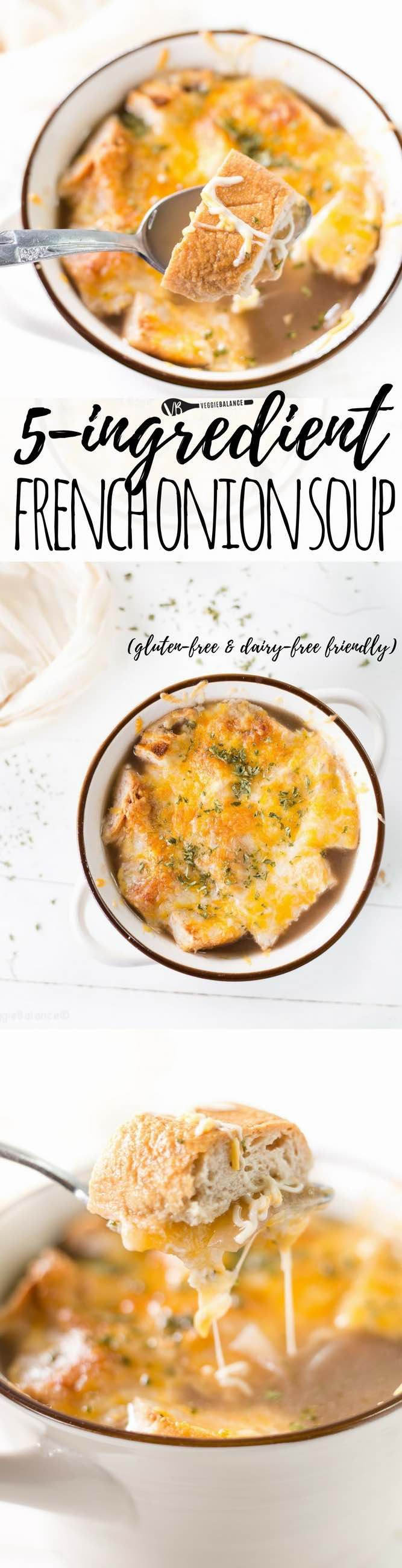 Gluten-Free French Onion Soup made with just 5 ingredients to make your tummy cozy and happy. this classic soup du jour is a delicious addition to your week. (gluten-free, low-sugar, nut-free, low-carb and dairy-free friendly) - Gluten Free Recipes | Easy Recipes by Veggie Balance