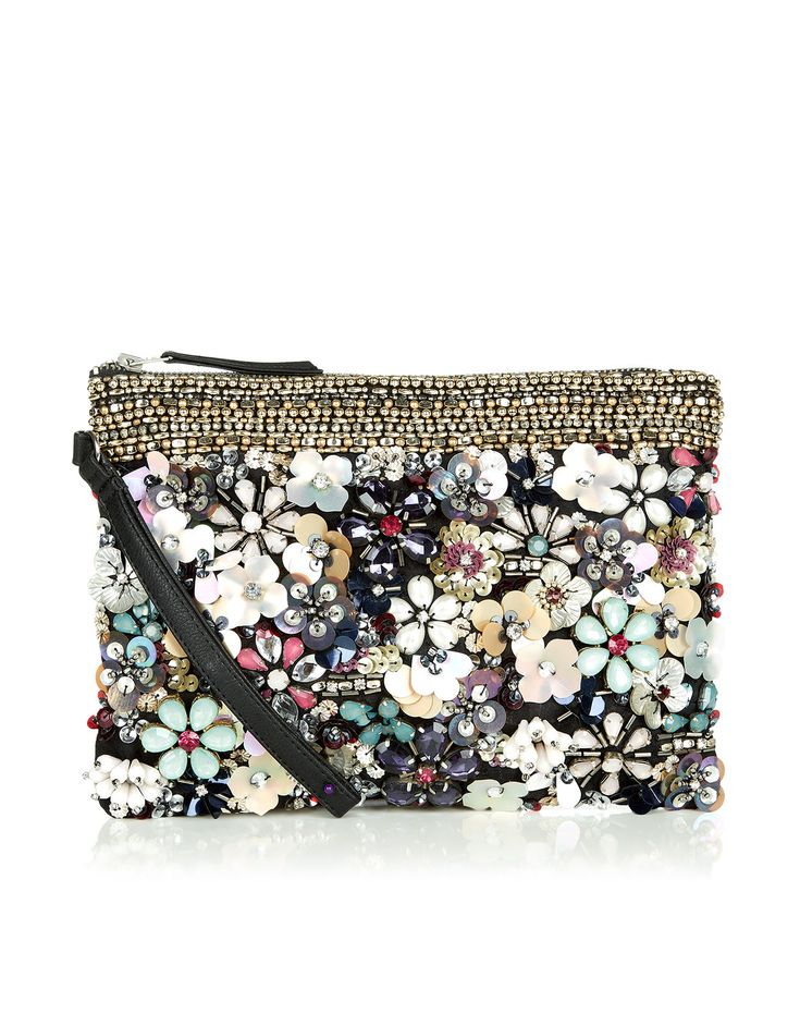 BNWT Monsoon Accessorize 3D Floral Zip Top Clutch Bag | eBay