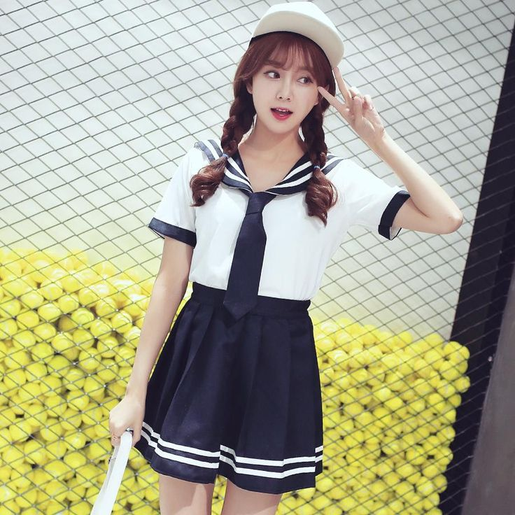 Japanese navy casual sailor school uniform t-shirt/skirt SD00826 – SYNDROME - Cute Kawaii Harajuku Street Fashion Store