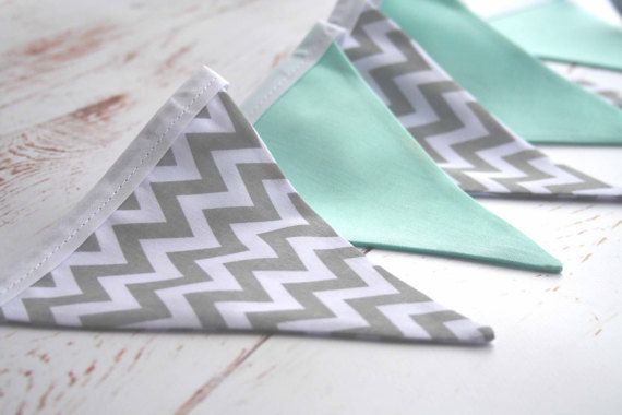 Grey and Mint Nursery Bunting  Grey Chevron Bunting  Grey