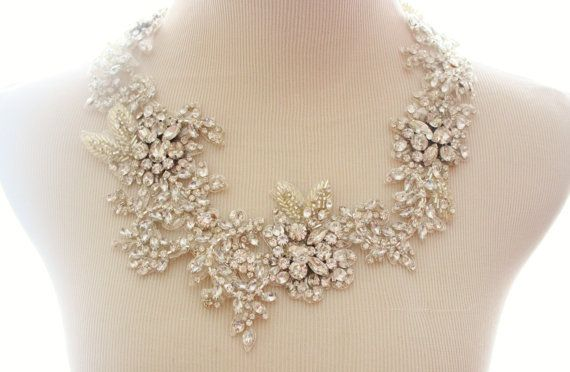 Bridal Crystal Rhinestone Lace Statement Necklace, Bridal Statement Necklace