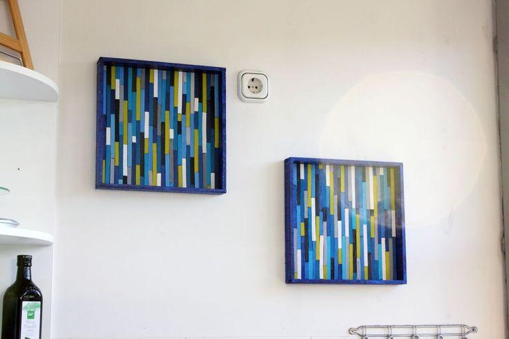 Einfache Wanddeko für die Küche – bunte Holzstäbchen im Holzrahmen | FreyKreativ