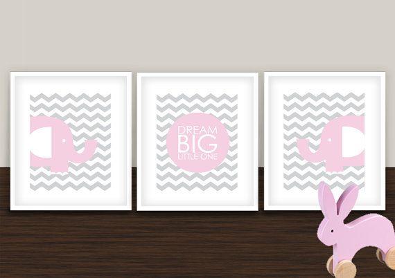 Elephant and Gray Pink Chevron Nursery set of 3 by giraffesnstuff, $35.00