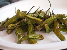 Shishito - Wikipedia, the free encyclopedia TIL There is a pepper grown in Japan called the Shishito pepper. Only 1 out of 10 is spicy and there's no way of knowing beforehand.