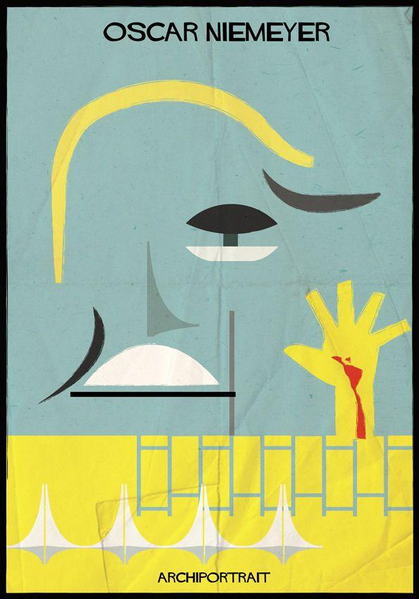 The Latest Illustration from Federico Babina: ARCHIPORTRAIT - Oscar Niemeyer. Image Courtesy of Federico Babina