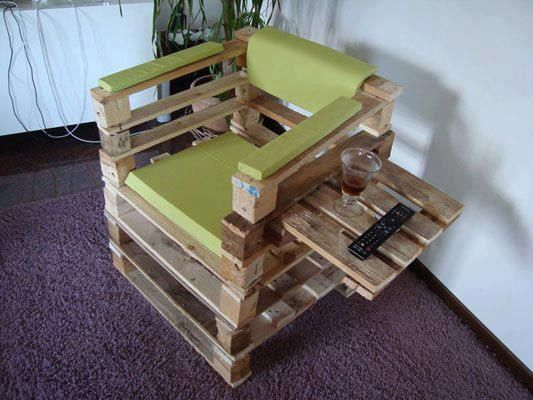 sillón reciclado: Diy Pallet, Wooden Pallet, Pallet Projects, Chairs, Outdoor, Pallet Furniture, Pallet Ideas, Wood Pallets, Pallet Chair