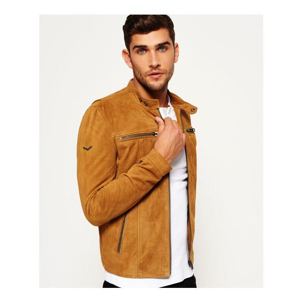 Superdry Real Hero Suede Biker Jacket (5,580 MXN) ❤ liked on Polyvore featuring men's fashion, men's clothing, men's outerwear, men's jackets, brown, mens suede moto jacket, mens suede jacket, mens brown jacket, mens suede biker jacket and mens suede leather jacket