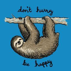 "Don't hurry, be happy. <a class=""pintag searchlink"" data-query=""%23sloth"" data-type=""hashtag"" href=""/search/?q=%23sloth&rs=hashtag"" rel=""nofollow"" title=""#sloth search Pinterest"">#sloth</a>"