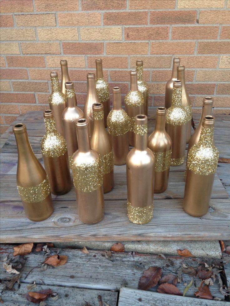 gold glitter wine bottles for centerpieces 15 august