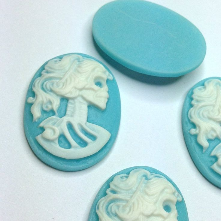 New to SkullButtonry on Etsy: 5 Cameo Cabochon Lady Skull Skeleton 25 x 18mm Resin Gothic Oval Cameo WHITE  on BLUE - Pack of 5 (1.95 AUD)