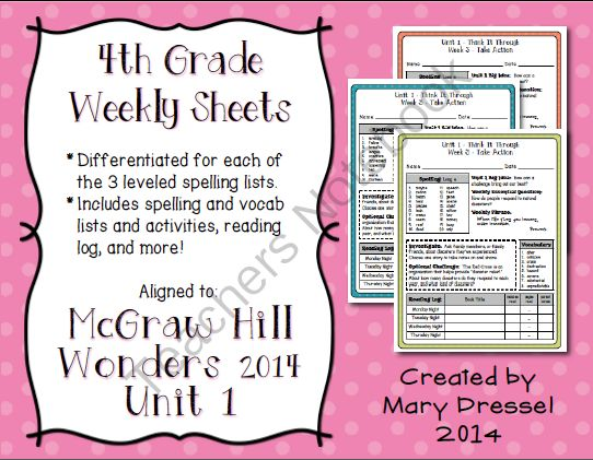 McGraw Hill Wonders - 4th Grade (Unit 1) Weekly Spelling, Vocab, and More! from 4th Works! on TeachersNotebook.com -  (35 pages)  - McGraw Hill Wonders - 4th Grade (Unit 1) Weekly sheets with differentiated spelling, vocab, and activities.