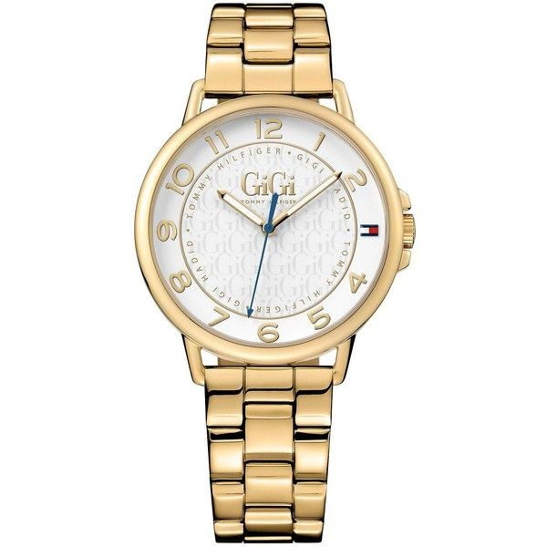 Tommy Hilfiger Tommy Hilfiger Gigi Hadid For Tommy White Dial Gold... (£103) ❤ liked on Polyvore featuring jewelry, watches, gold tone watches, tommy hilfiger watches, gold tone jewelry, colored gold jewelry and tommy hilfiger jewelry