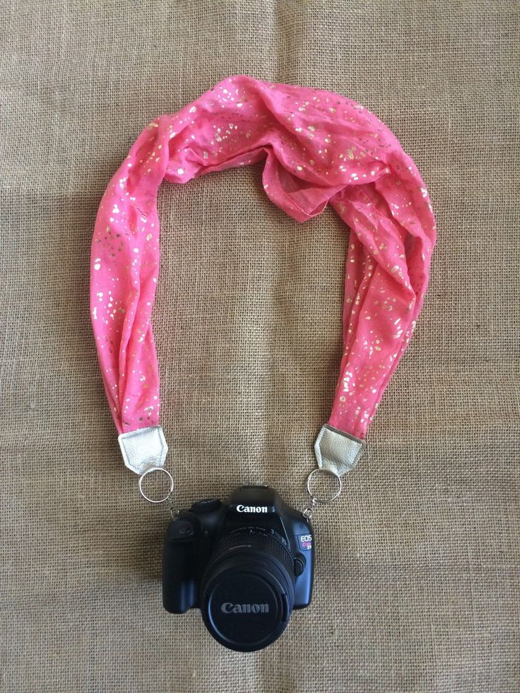 Pink Scarf Camera Strap with Gold Flakes, DSLR Scarf Camera Strap, Stylish Camera Strap by FaithLoveCraft on Etsy