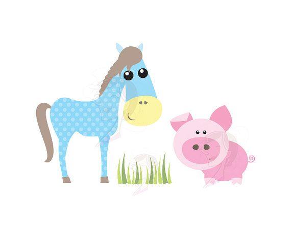 Farm Animal Clipart Baby Farm Animals Cute Pastel Horse Pig Etsy Baby Farm Animals Baby Clip Art Animal Clipart