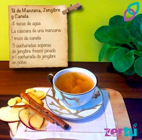 #Refuerzatusdefensas con este delicioso #Té de Jengibre con #Manzana y #Canela. Pon el agua a hervir 10 min, agrega la cáscara de la manzana, el trozo de canela y el #jengibre. Déjalos hervir por 10 minutos más a fuego lento y apaga. Permite que repose al menos 5 minutos, sirve y endulza a tu gusto. ¡Disfrútalo!