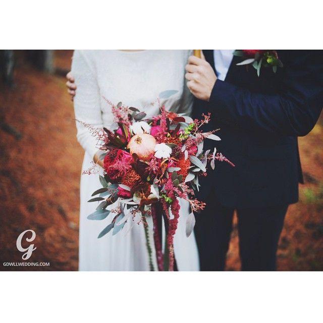 Необычный букет невесты. Цвет марсала. Wedding bouqet.,