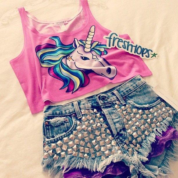 Studded shorts and unicorn shirt. Buy highwasited denim shorts here: https://www.etsy.com/shop/UnicornStudded