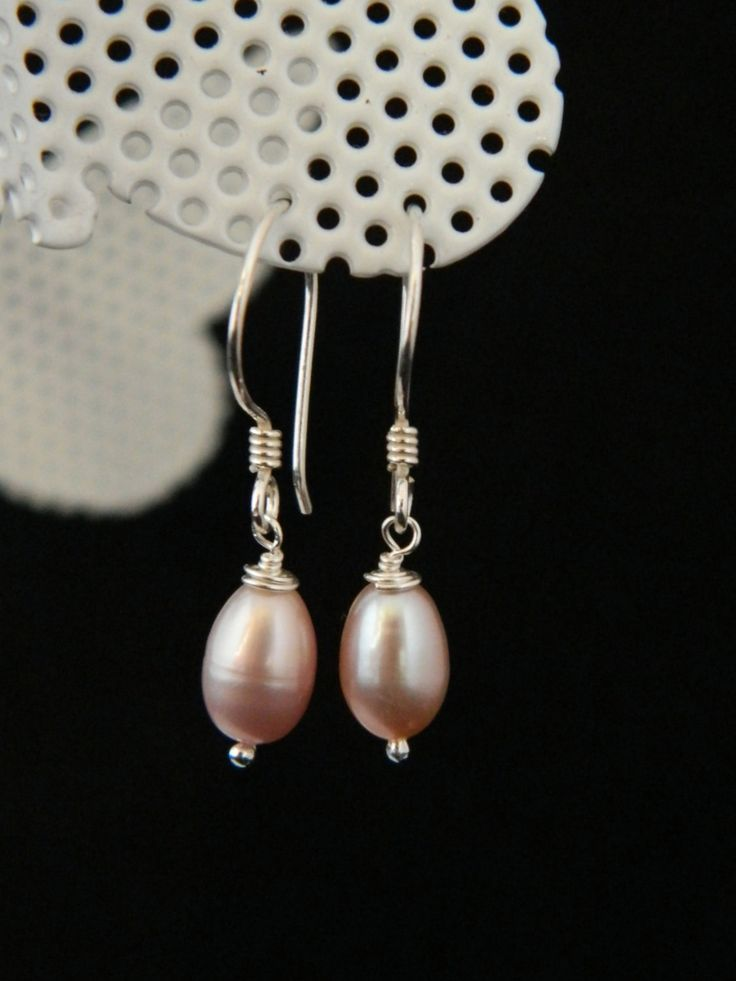 Natural Pink Cultured Pearl Earrings  Handmade  Classic Pearls  Pink Pearls  925 Sterling Silver  Bridal Jewellery  Mothers Day (15.00 GBP) by GiraffeJewelleryBox http://ift.tt/1RlbxnG