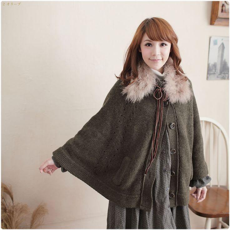 Fur Collar Knit Poncho