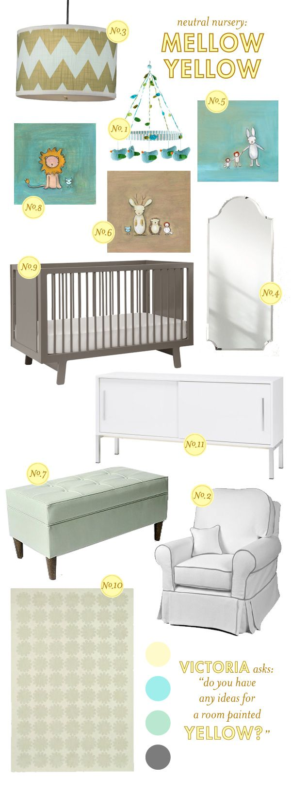 Neutral nursery. Great colors.: Style Boards, Mellow Yellow, Baby Lay, Baby Rooms, Neutral Nurseries, Mellowyellow, Yellow Nurseries, Nurseries Ideas, Baby Nurseries
