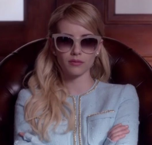 "4e82d2210ce6 Steal Emma Roberts  Pastel Blue Blazer And Sunglasses From ""Scream Queens"""