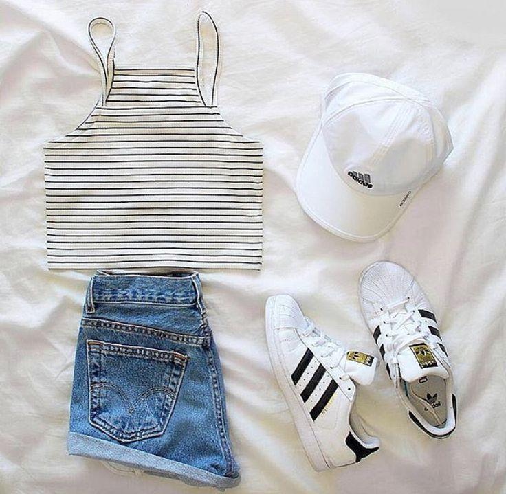 Adidas hat, Blackwhite striped crop top, blue high waisted shorts, adidas superstars