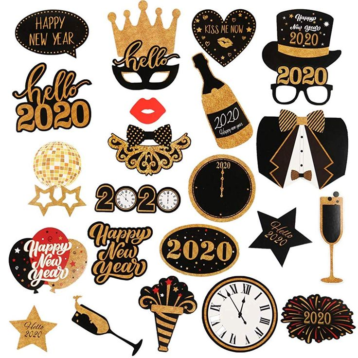 Amosfun 2020 New Years Party Photo Booth Props Glitter